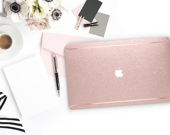 Pink Sparkle Shimmer Glitter . Macbook Pro 13 Case A2159  Macbook Air Case Laptop Case Macbook Case . Rose Gold Chrome . Platinum