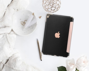 "Black Leather with Rose Gold Smart Cover Hard Case for      iPad 9.7 2018.  iPad Pro 12.9 2018 . iPad Pro 11"" . iPad Air 10.5"". iPad Mini 5"