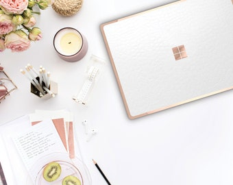 White Mica Alligator with Rose Gold Edge Vinyl Skin  Microsoft Surface Pro X , Surface Laptop 3 , Surface Pro 7. Surface Go . Surface Book 3