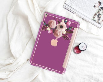 "Razzmic Berry with Rose Gold Smart Cover Hard Case . iPad Pro 12.9 2018 . iPad Pro 11"" . iPad Air 10.5"". iPad Mini 5 . Custom Monogram"