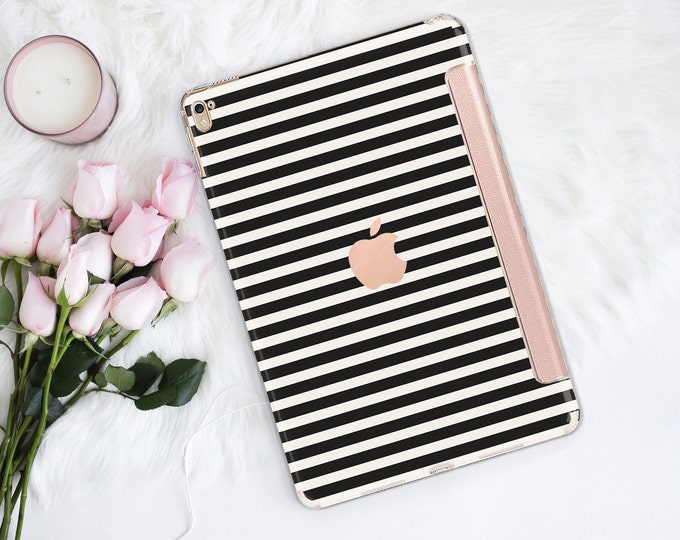 "Featured listing image: Black Stripes with Rose Gold Smart Cover Hard Case . Kate Spade Inspired.  iPad Pro 12.9 2018 . iPad Pro 11"" . iPad Air 10.5"". iPad Mini 5"