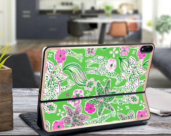 "Giraffe Tropics and Rose Gold Vinyl Skin Decal . Lilly Pulitzer Inspired .  Apple Smart Keyboard Folio iPad Pro 11"" . iPad Pro 12.9"""