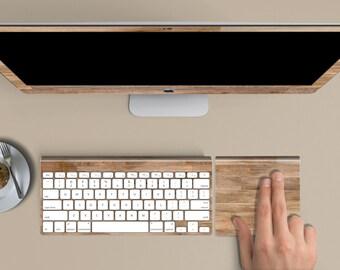 "Untreated Wood Skin for iMac 21.5""  . iMac 27"" 5k (Includes Wireless Apple Keyboard / Apple Magic Touchpad / Foot). Monogram"
