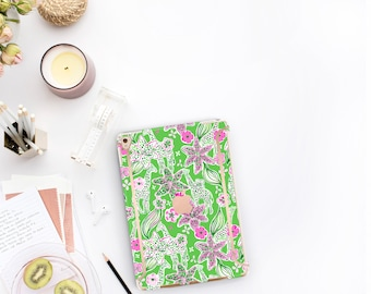 "Giraffe and Rose Gold Accents . Lilly Pulitzer Inspired Smart Keyboard compatible Hard iPad Air 10.5"" . iPad Mini 5 iPad Pro 10.5"" Monogram"