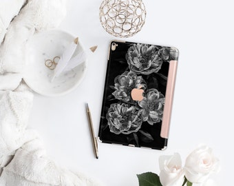 Black Rose with Rose Gold Smart Cover Hard Case for    iPad Pro  . New iPad 9.7 2018. New iPad Pro 12.9 2018 . iPad Pro 11""