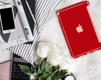 "Lipstick Red with Rose Gold Smart Cover Hard Case . iPad Pro 12.9"" 2020 . iPad Pro 11"" . iPad Air 10.5"". iPad Pro 2020 Custom Monogram"
