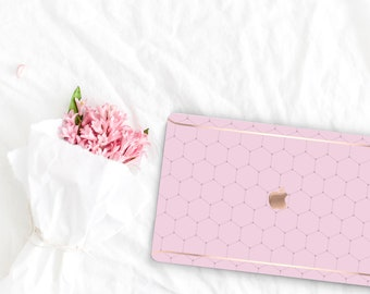 Sweet Pea Pattern Collection Leather Macbook Case . Distinctive Macbook Hard Case and Rose Gold . Macbook Pro 13 Case . Custom Monogram