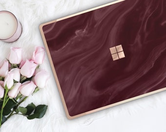 Burgundy and Rose Gold Edge Vinyl Skin  Microsoft Surface Book 2 , Surface Laptop 2 , Surface Pro 6  . Surface Go . Monogram