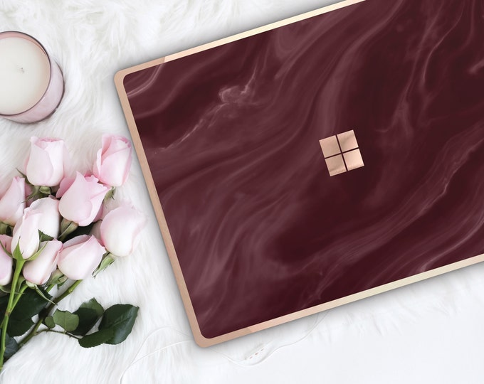 Featured listing image: Burgundy and Rose Gold Edge Vinyl Skin  Microsoft Surface Pro X , Surface Laptop 3 , Surface Pro 7  . Surface Go . Monogram
