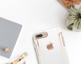 iPhone 8 Case iPhone 8 Plus Case iPhone X Arctic White Alligator Leather iPhone Case and Rose Gold Detailing  Otterbox Symmetry