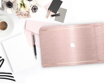 Trendy Brushed Pink . Distinctive Macbook Hard Case and Bold Rose Gold Accents . Macbook Pro 13 Case A2159  . Custom Monogram