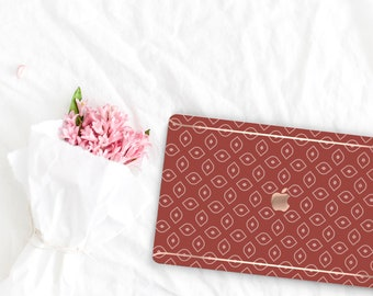 Cinnamon Pattern Collection Leather Macbook Case . Distinctive Macbook Hard Case and Rose Gold . Macbook Pro 13 Case . Custom Monogram