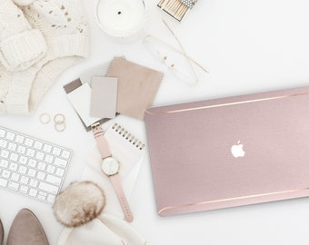 Leather Pale Vellum and Thin Rose Gold Accents Macbook Hard Case . Hand-Made Macbook Hard Case . Macbook Pro 13 Case Macbook Air 13 2018