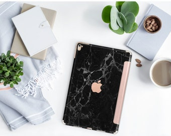 Black Marble and Rose Gold Smart Cover Hard Case for    iPad Pro  . New iPad 9.7 2018  . New iPad Pro 12.9 2018 . iPad Pro 11""
