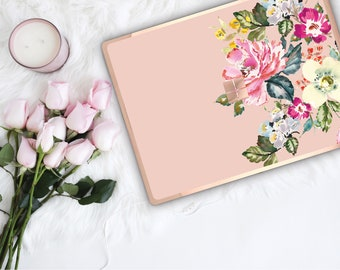 Dust Storm Flowerly Collection and Rose Gold Edge Vinyl Skin Microsoft Surface Pro X , Surface Laptop 3 , Surface Pro 7 . Surface Go