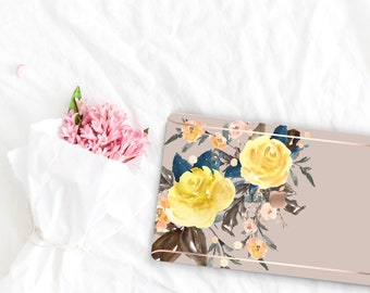 Pale Silver Flowerly Collection Leather Macbook Case . Distinctive Macbook Hard Case and Rose Gold . Macbook Pro 13 Case . Custom Monogram