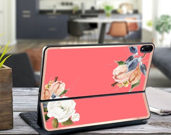 "Aristocrat Floral Light Coral and Rose Gold Vinyl Skin Decal - Apple Smart Keyboard Folio iPad Pro 11"" . iPad Pro 12.9"" . iPad Air 10.5"