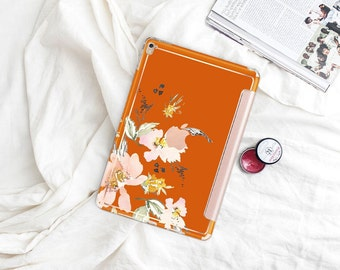 "Light Burnt Orange with Rose Gold Smart Cover Hard Case . iPad Pro 12.9"" 2020 . iPad Pro 11"" . iPad Air 10.5"". iPad Mini 5 . Custom Monogram"
