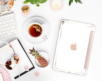"Elegant White with Rose Gold Smart Cover Hard Case for      iPad 9.7 2018  .  iPad Pro 12.9 2018 . iPad Pro 11"" . iPad Air 10.5"""