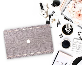 Elegant Gray Silver Snake and Thin Rose Gold Accents Macbook Hard Case . Hand-Made Macbook Case  . Macbook Pro 13 Case . Macbook Air 13