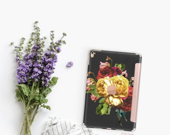 "Vintage Floristry with Rose Gold Smart Cover Hard Case for      iPad 9.7 2018.  iPad Pro 12.9"" 2020 . iPad Pro 11"" . iPad Air 10.5"""