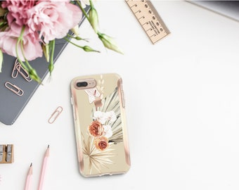 Bone Boho Tropical Flowerly Collection and Rose Gold Hard Case Otterbox Symmetry. iPhone X . iPhone Xs Max . iPhone XR . iPhone 8 . Monogram
