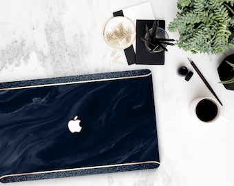 Navy Blue Swirl Marble and Navy Sparkle Edge  Macbook Air Case Laptop Case Macbook Case . Rose Gold Chrome . Platinum A1990 . A1990