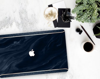 Navy Blue Swirl Marble and Navy Sparkle Edge . Macbook Pro 13 Case Macbook Air Case Laptop Case Macbook Case . Rose Gold Chrome . Platinum