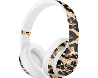 Elusive Leopard Vinyl Skin Decal for Apple Beats Studio 3 A1914  . Apple Beats Solo 3 A1796 Wireless . PowerBeats 3 . Custom Monogram