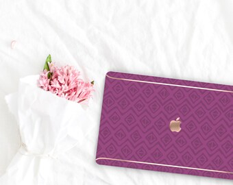 Razzmic Berry Pattern Collection Leather Macbook Case . Distinctive Macbook Hard Case and Rose Gold . Macbook Pro 13 Case . Custom Monogram