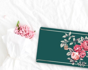 Dark Slate Green Flowerly Collection Leather Macbook Case . Distinctive Macbook Hard Case and Rose Gold . Macbook Pro 13 Case . Monogram