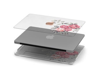 Richmond Rose Crystal Clear Transparent Macbook Case . Distinctive Macbook Hard Case and Rose Gold Apple . Macbook Pro 13 Case . Monogram