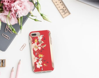 Red Hot Chili Flowerly Collection and Rose Gold Hard Case Otterbox Symmetry. iPhone X . iPhone Xs Max . iPhone XR . iPhone 8 Monogram