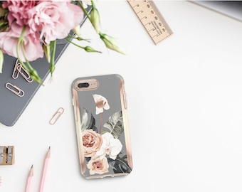 Spanish Gray Flowerly Collection and Rose Gold Hard Case Otterbox Symmetry. iPhone X . iPhone Xs Max . iPhone XR . iPhone 8 . Monogram