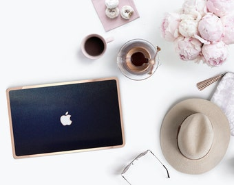 Sophisticated Brushed Blue . Distinctive Macbook Hard Case and Bold Rose Gold Accents . Macbook Pro 13 Case A2159  . Custom Monogram