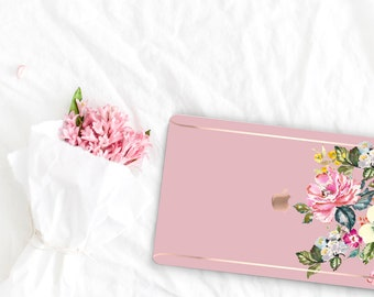 Cameo Pink Flowerly Collection Leather Macbook Case . Distinctive Macbook Hard Case and Rose Gold . Macbook Pro 13 Case . Custom Monogram