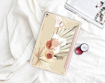"Alabaster Boho with Rose Gold Smart Cover Hard Case . iPad Pro 12.9 2018 . iPad Pro 11"" . iPad Air 10.5"". iPad Mini 5 . Custom Monogram"