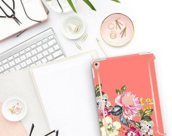 "Tea Rose Flowerly Collection Bold Rose Gold Accents   Smart Keyboard compatible Hard . iPad Air 10.5"" . iPad Mini 5 . iPad Pro 10.5"""