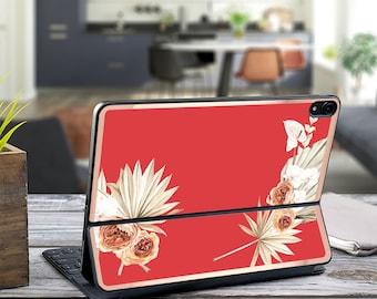 "Boho Tropical Red Hot Chili and Rose Gold Vinyl Skin Decal - Apple Smart Keyboard Folio iPad Pro 11"" . iPad Pro 12.9"" . iPad Air 10.5"
