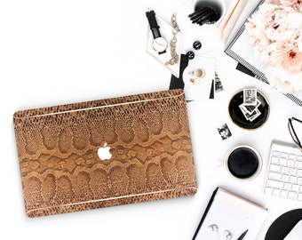 Leather Brown Snake and Thin Rose Gold Accents Macbook Hard Case . Hand-Made Macbook Case  .   . Macbook Air 13 A1990 . A1990