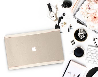 Elegant Marshmallow and Cream Edge with Thin Rose Gold Accents Macbook Hard Case . Hand-Made Case  . Macbook Pro 13 Case . Macbook Air 13