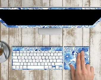 "Cool Island Breeze Skin for iMac 21.5""  . iMac 27"" 5k (Includes Wireless Apple Keyboard / Apple Magic Touchpad / Foot). Monogram"