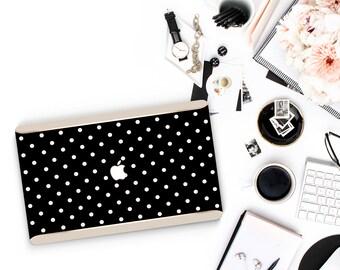 Polka Black and Cream . Rose Gold Detailing . Macbook Pro 13 Case Macbook Air Case Laptop Case Macbook Case - Platinum