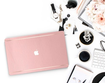 Leather Pink Peony and Thin Rose Gold Accents Macbook Hard Case . Hand-Made Macbook Hard Case   . Macbook Air 13 2018 A1990 . A1990