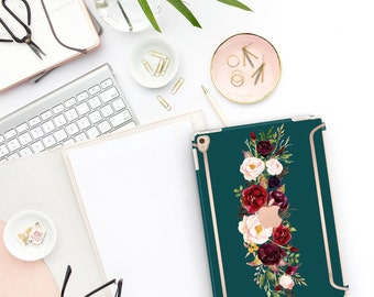"""Light Moss Green Flowerly Collection Bold Rose Gold Accents   Smart Keyboard compatible Hard . iPad Air 10.5"""" . iPad Mini 5 . iPad Pro 10.5"""""""