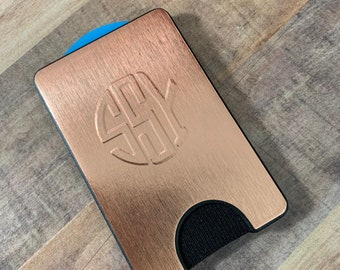 Brushed Rose Gold Chrome Hand-Embossed Monogramed PopWallet . Collapsible Grip for Phones . iPhone Xs Max . Pixel . Galaxy . PopSockets
