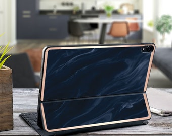 "Navy Blue Marble Swirl and Rose Gold Vinyl Skin Decal - Apple Smart Keyboard Folio iPad Pro 11"" . iPad Pro 12.9"" . iPad Pro 2020"" . Monogram"