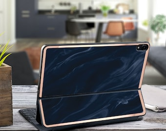"Navy Blue Marble Swirl and Rose Gold Vinyl Skin Decal - Apple Smart Keyboard Folio iPad Pro 11"" . iPad Pro 12.9"" . iPad Air 10.5"" . Monogram"