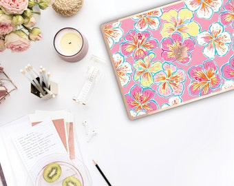 Hibiscus Rosa and Rose Gold Edge . Lilly Pulitzer Inspired . Vinyl Skin Microsoft Surface Book 2 , Surface Laptop 2 Surface Pro 6 . Surface