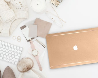 Leather Light Fawn and Thin Rose Gold Accents Macbook Hard Case . Hand-Made Macbook Hard Case   . Macbook Air 13 2018 A1990 . A1990